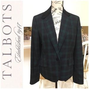 Talbots Blazer Navy/Green Plaid Black Velvet Lapel